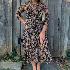 Longsleeve Floral Midi Dress for Women.